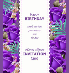 happy birthday violet roses background vector image