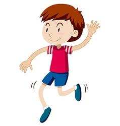 Happy boy dancing alone vector image
