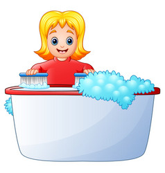 Happy girl cleaning bathtub on a white background vector