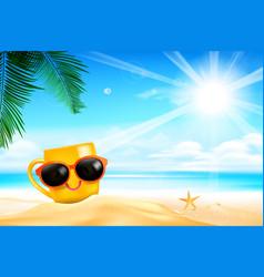 happy smile yellow mug cartoon on the beach with vector image