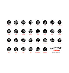 Hardware shop and building set round icons vector