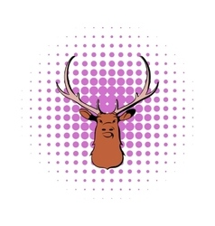Head of deer icon comics style vector