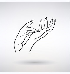 Icon female hands cosmetic care vector
