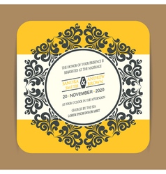 Invitation card with round vintage element vector