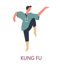 kung fu chinese fighting art isolated male vector image