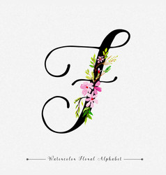Letter f watercolor floral background vector