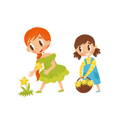 Little kids picking flowers cute girl holding vector