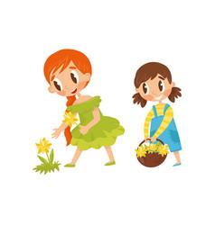 little kids picking flowers cute girl holding vector image