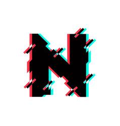 Logo letter n glitch distortion diagonal vector