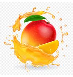 mango juice splash realistic vector image