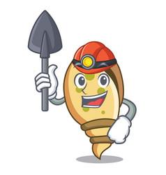 Miner sea shell mascot cartoon vector
