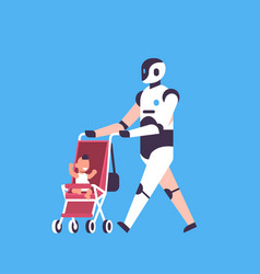 Modern robot babysitter walking stroller helper vector