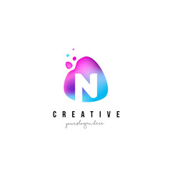 N letter dots logo design with oval shape vector