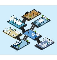 Online Office Isometric Icon vector