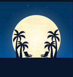 palm and lounge chair silhouette banner with moon vector image