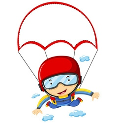 Person doing sky diving in the sky vector image vector image