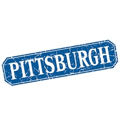 Pittsburgh blue square grunge retro style sign vector