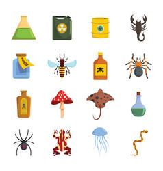 poison danger toxic icons set flat style vector image