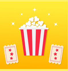 popcorn box two tickets with stars movie cinema vector image