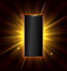 premium smartphone on golden glow background vector image