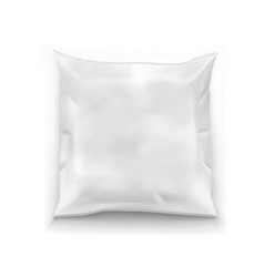 Realistic food snack square polyethylene pillow vector