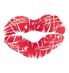 red lips symbol vector image