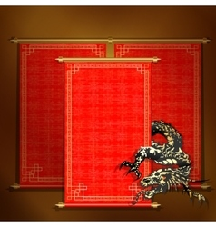 Red scroll with Asian dragon vector image