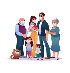 relatives big family in mask kids adults together vector image