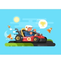 Riding a karting design flat vector