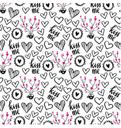 romantic doodle pattern with hearts-01 vector image