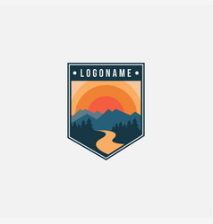 Seal mountain and river landscape adventure logo vector