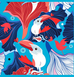 seamless festive pattern birds in love vector image