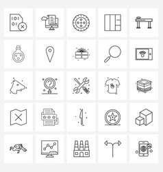 Set 25 modern line icons stacked grid cloud vector