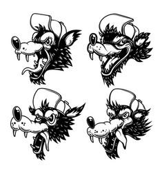 set cartoon wolf in baseball hat design vector image