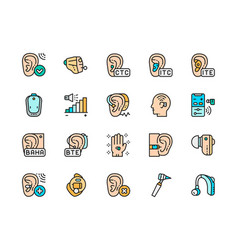 Set hearing aid color icons ear canal volume vector