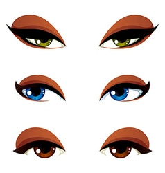 Set of blue brown and green eyes Female eyes vector image