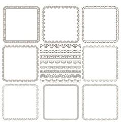 Set of elegant seamless borders and frames vector