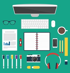 Set of office and business work elements vector image