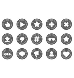 set of rounded buttons with statistics vector image
