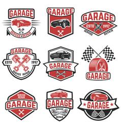 Set vintage car service labels design elements vector