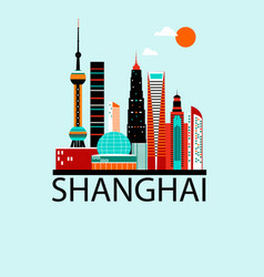 Shanghai china travel background vector