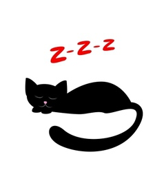 Sleeping black cat vector