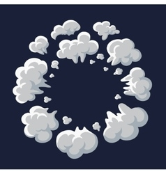 Smoke dust explosion cartoon frame vector image