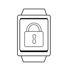 square watch and lock icon graphic vector image