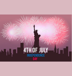 statue of liberty and fireworks on night city vector image vector image