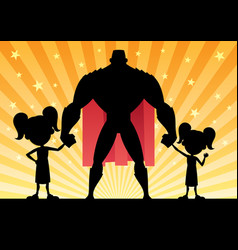 super dad 2 daughters vector image