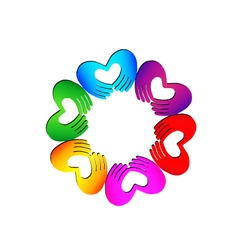 Teamwork Hands doing a heart colorful logo vector