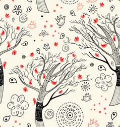 Texture with trees and birds vector
