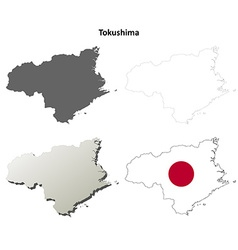 Tokushima blank outline map set vector