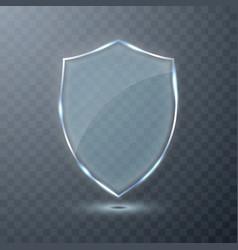 transparent glass shield on transparent background vector image